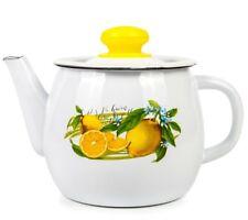 1.1-Qt Enamel Brewing Teapot with Lemons Print. Sturdy Durable Tea Pot