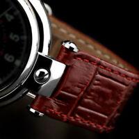 Uhrenarmband rot Poljot Basilika 20mm mit Ausschnitt Alligator Croco Prägung