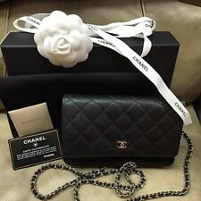 AUTHENTIC Chanel Black Wallet on Chain WOC Caviar Leather Open for Layaway