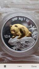 1999 china panda beijing expo gold plated silver coin coa