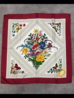 """Gucci Vintage Floral Silk Scarf by V.Accornero 33""""x33"""""""