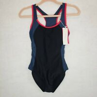 ReliBeauty Backless Splice One Piece Swimsuit Racer Back Cut Out Sz Small Navy