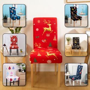 Christmas Chair Covers Stretch Spandex Slip Cover Dining Wedding Banquet Party