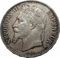 1868 FRANCE Emperor NAPOLEON III Silver 5 Francs French Coin Coat-of-Arms i71896