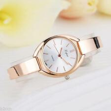 Ladies Fashion Rose Gold Quartz Silver Faced Bracelet & Linked Band Wrist Watch.
