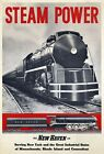 """Vintage Illustrated Travel Poster CANVAS PRINT New Haven Train Steam 24""""X18"""""""