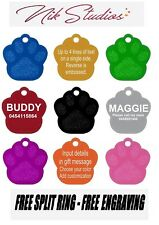 Pet ID Name Tag Tags Laser Engraved Dog Cat Paw Customised and Personalised