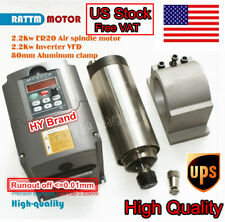 【USA】Quality CNC Kit 2.2KW ER20 Air-cooled spindle motor+Inverter VFD+80mm Clamp