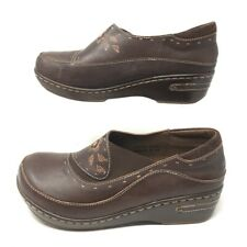 Lartiste By Spring Step Womens Burbank Clog Shoes Brown Floral Slip On Leather 9
