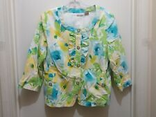 Kim Rogers Multi-Color 3/4 Sleeve Button Down Jacket / Top Large
