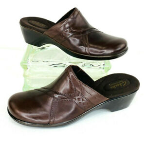 Clarks April Bayberry 9 Medium Brown Comfort Clog/Mule