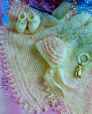 BABY SHAWL BOOTEES & BONNET IN 2 PLY  KNITTING PATTERN  (238)