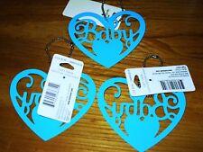 Hallmark Gift Trim Baby Tie on Heart ornament Blue Shower favor GIFT birth new