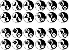 "Black Yin Yang Dog Cat Paw Print 5""X7"" Card Fused Glass Decals 14CC441"