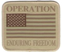 Military USA Flag Patch OEF Operation Enduring Freedom Tan Subdued Afghanistan
