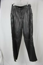 Vintage 1980's Tannery West Black Leather pleated high waist pants 32 (10)