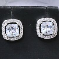 Cushion Cut Cubic Zirconia Earring Stud Women Jewelry 14K White Gold Plated