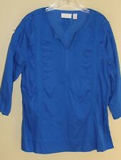Chico's Electric Blue Embroidered Cotton Peasant Fun Tunic Shirt Top Sz 2