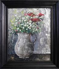 Peinture à l'huile au couteau, encadrée, bouquet de fleur