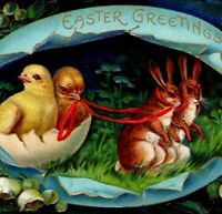 c 1910 Easter Greeting Postcard Lot of 2 Anthropomorphic Rabbits Pulling Chicks