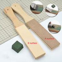 Dual Sided Leather Blade Strop Razor Sharpener Polishing Wooden Handle Craft Set