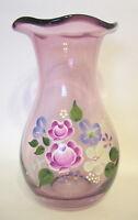 Teleflora Amethyst Glass Floral Vase Fenton Designed 7 to 8 inch Signed