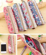 Girl LOVELY Flower Floral Lace Pencil Pen Case Zero purse Bag Pouch Holder JT15