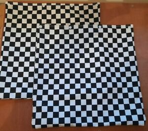 "Pair Cotton Black And White Check Ska Chequered Flag Cushion Covers 16"" x16"""