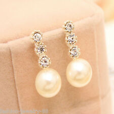 Fashion Womens Lady Crystal Rhinestone Pearl Earrings Ear Stud Dangle Jewelry