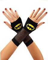 Batman Fishnet Costume Gloves - Licensed Exclusive - Logo DC Comics - Black NEW