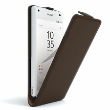 Tasche für Sony Xperia Z5 Compact Flip Case Schutz Hülle Cover Etui Braun
