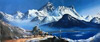 "MOUNT EVEREST VIEW FROM GOKYO LAKE ORIGINAL ACRYLIC PAINTING IN CANVAS 22"" x 52"""