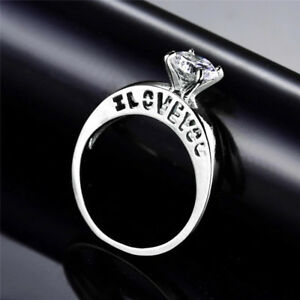 18k White Gold I Love You Engagement Ring Swarovski Crystal Diamond Solitaire
