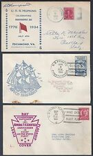 US 1931 4 THREE SHIP COVERS USS HOPKINS USS PENNYSYLVANIA USS CONSTIUTION
