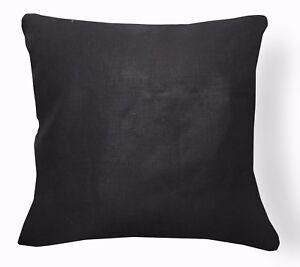 Nm615a Plain Black 100% Pure Linen Cushion Cover/Pillow Case *Custom Size