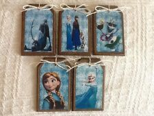 5 Handcrafted Wood FROZEN Christmas Ornaments,FROZEN Gift Tags,HangTags Set9.
