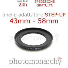 Anello STEP-UP adattatore da 43mm a 58mm filtro - STEP UP adapter ring 43 58 mm