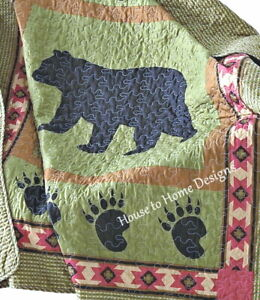 BLACK BEAR and PAW 50x60 QUILT THROW : CABIN MOUNTAIN SOUTHWESTERN BLANKET