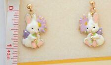 Easter Bunny w Flower Dangling Post Earrings / Gold-tone / White Spring Rabbit