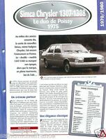 Simca Chrysler 1300-1308 GT 4 Cyl. 1975 France Car Auto Retro FICHE FRANCE