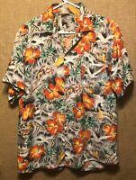 Vintage 1960's Grey Floral Rayon Hawaiian Aloha Shirt