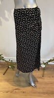 Wednesday's Girl Skirt Size XS 8,M 12 & 22 Black Midi Ditsy Leaf Print GM85 NEW