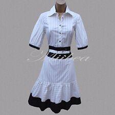 Karen Millen 40's Style Pinstripe Cocktail  Business Office Shirt Dress 10 UK