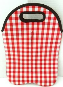 Red, White, Pink Plaid Print Wine/Bottle 2part Holder 13in