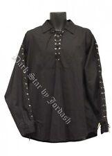 Mens Dark Star Black Gothic Steampunk Pirate Larp Cotton Shirt Size Large/XL
