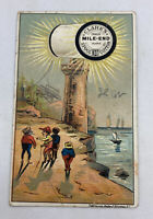 """Trade Card CLARK'S MILE-END SPOOL COTTON """" Lighthouse"""" AS IS"""