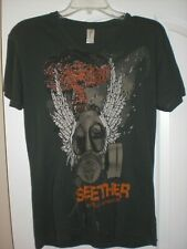 Pre-Owned Official Unisex Seether World Domination V Neck T-Shirt Size SM