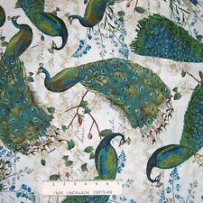David Textiles Fabric - Wild Apple Peacock Arbor Beige Toss - YARD