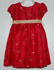 Girls 3T Red Holiday Christmas Dress Gold Green Flowers Leaves NEW!