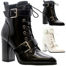 Bloque De Mujer Tacones Zapatos señaló Hebilla Punk Goth Damas Botas al Tobillo Con Cordones Talla
